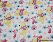 Character Flannel Fabric - Pooh and Piglet Friends on White - By the yard - 100% Cotton Flannel
