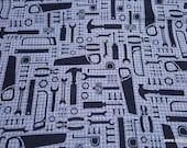 Flannel Fabric - Tools on Gray - By the yard - 100% Cotton Flannel