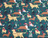 Christmas Flannel Fabric - Festive Pups - By the Yard - 100% Cotton Flannel