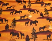 Flannel Fabric - Sunset Horses - By the yard - 100% Cotton Flannel