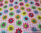 Flannel Fabric - Ladybug Daisies - By the yard - 100% Cotton Flannel