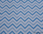 Flannel Fabric - Chevron Blue Small - By the yard - 100% Cotton Flannel