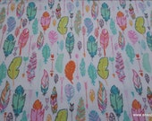 Flannel Fabric - Multicolor Feathers on White  - By the yard - 100% Cotton Flannel