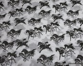 Flannel Fabric - Black Gray Horses on Gray - By the yard - 100% Cotton Flannel