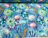 Flannel Fabric - Bright Ocean Sea Life - By the yard - 100% Cotton Flannel
