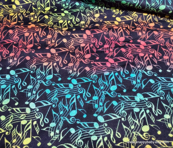 Flannel Fabric - Rainbow Music Notes - By the yard - 100% Cotton Flannel