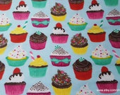 Flannel Fabric - Cupcakes on Light Blue - By the yard - 100% Cotton Flannel