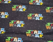 Character Flannel Fabric - Star Wars Logo Character on Black - By the yard - 100% Cotton Flannel