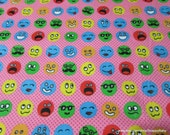 Flannel Fabric - Faces on Pink - By the yard - 100% Cotton Flannel