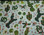 Flannel Fabric - Cute Cacti - By the yard - 100% Cotton Flannel