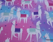 Flannel Fabric - Tossed Llama Multi - By the yard - 100% Cotton Flannel