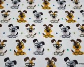 Flannel Fabric - Smart Pups - By the yard - 100% Cotton Flannel