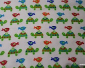 Flannel Fabric - Turtles and Birdies - By the Yard - 100% Cotton Flannel