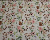 Flannel Fabric - Spring Mini Floral and Birds - By the yard - 100% Cotton Flannel
