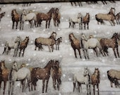 Flannel Fabric - Winter Horses - By the yard - 100% Cotton Flannel