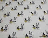 Character Flannel Fabric - Looney Tunes Bugs Daffy White - By the yard - 100% Cotton Flannel
