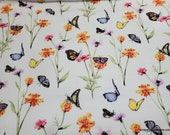 Flannel Fabric - Butterflies Flying - By the Yard - 100% Cotton Flannel