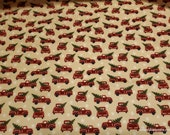 Christmas Premium Flannel Fabric - Jingle Bell Red Truck Beige Premium - By the yard - 100% Premium Cotton Flannel