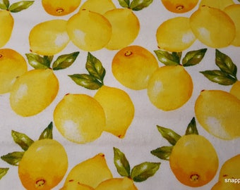 Flannel Fabric - Lemons - By the yard - 100% Cotton Flannel