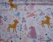 Flannel Fabric - Bear and Friends on White - By the Yard - 100% Cotton Flannel