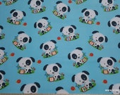 Premium Flannel Fabric - Puppies on Blue 2-Ply Premium - By the yard - 100% Cotton Flannel