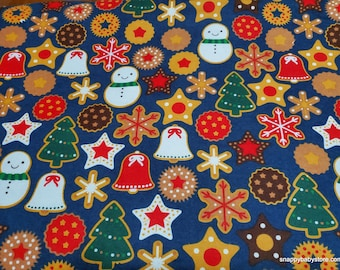 Christmas Flannel Fabric - Christmas Cookies - By the yard - 100% Cotton Flannel