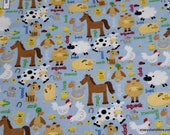 Flannel Fabric - Farm Animals on Blue - By the yard - 100% Cotton Flannel