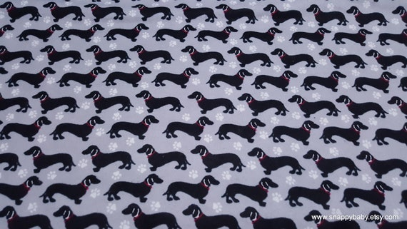 Flannel Fabric - Black Dachshunds on Gray - By the yard - 100% Cotton Flannel