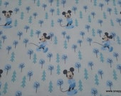 Flannel Fabric - Disney Little Meadow Mickey Mouse Blue on White - By the yard - 100% Cotton Flannel