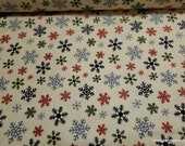 Christmas Premium Flannel Fabric - Jingle Bell Crossroads Multi Snowflake Cream Premium - By the yard - 100% Premium Cotton Flannel