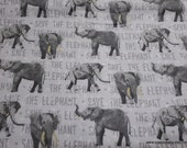 Flannel Fabric - Save the Elephant - By the yard - 100% Cotton Flannel