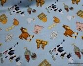 Flannel Fabric - Blue Farmily - By the yard - 100% Cotton Flannel