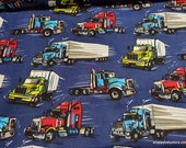 Flannel Fabric - Semi Trucks on Navy - By the yard - 100% Cotton Flannel