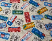 Flannel Fabric - State License Plates - By the yard - 100% Cotton Flannel