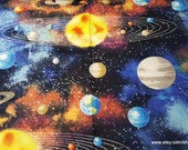 Flannel Fabric - Solar System - By the yard - 100% Cotton Flannel
