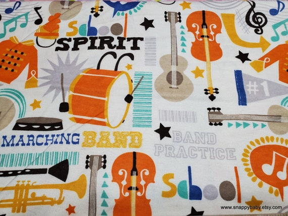 Flannel Fabric - Marching Band - By the yard - 100% Cotton Flannel