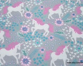 Flannel Fabric - Magic Unicorns Gray - By the yard - 100% Cotton Flannel