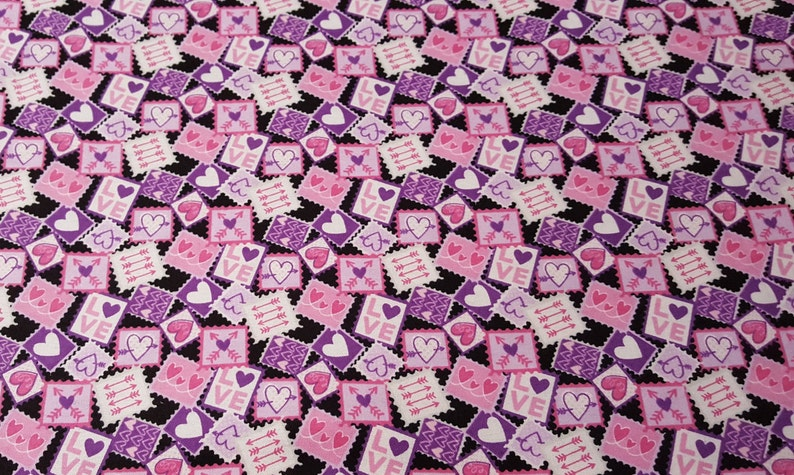 Flannel Fabric  Love Notes  By the yard  100% Cotton image 0