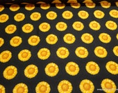 Flannel Fabric - Sunflower Black - By the yard - 100% Cotton Flannel