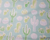Flannel Fabric - Cacti on Aqua - By the yard - 100% Cotton Flannel