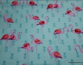 Flannel Fabric - Flamingos on Pineapples - By the yard - 100% Cotton Flannel