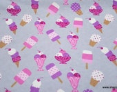 Flannel Fabric - Ice Cream Parlor - By the yard - 100% Cotton Flannel