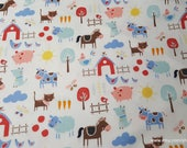 Flannel Fabric - Farm on White - By the yard - 100% Cotton Flannel