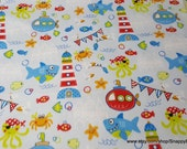 Flannel Fabric - Shark Life Light Blue - By the yard - 100% Cotton Flannel