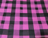 Flannel Fabric - Raspberry Rose Check - By the yard - 100% Cotton Flannel