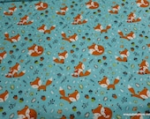 Flannel Fabric - Frolicking Foxes Blue - By the Yard - 100% Cotton Flannel