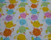 Flannel Fabric - Chicks Multi Color - By the yard - 100% Cotton Flannel