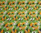 Flannel Fabric - Camo Orange Green - By the yard - 100% Cotton Flannel