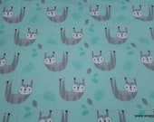 Flannel Fabric - Happy Sloth - By the Yard - 100% Cotton Flannel