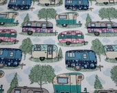 Flannel Fabric - Floral Campers and Pines - By the yard - 100% Cotton Flannel